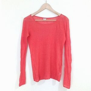 T. Babaton 100% Linen Coral Long Sleeve Knit Top